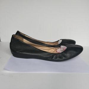 J Crew 64408 Women Cece Black Leather Ballet Flats
